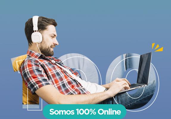 Chico joven estudia online